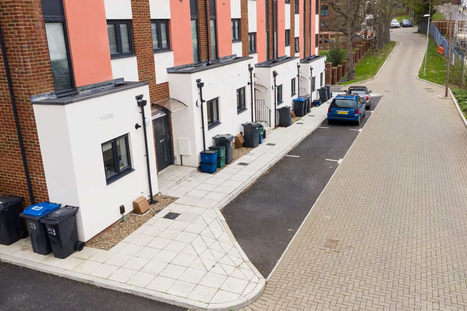 Paved road and tarmac parking area