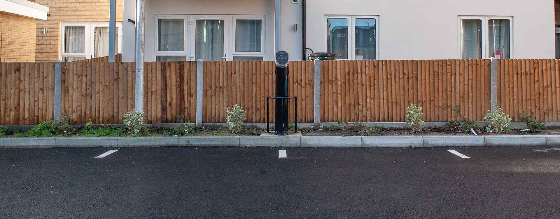 Car charging point installed in new car park