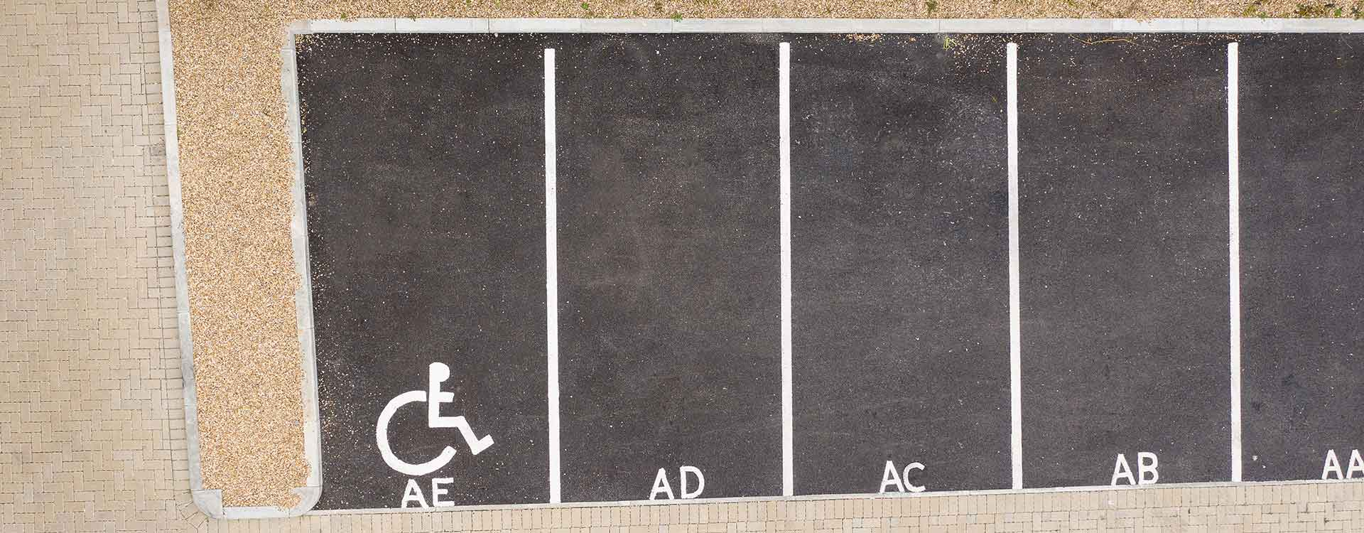 Disabled parking bay white lining for residential flats