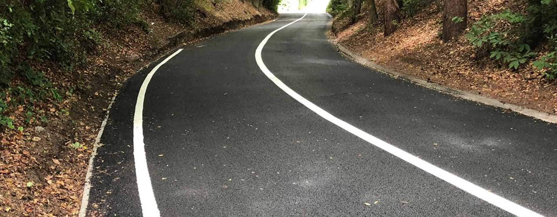 Private road new tarmac and white lining