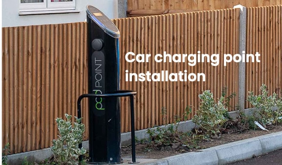 PodPoint electric car charging point in residential block of flats
