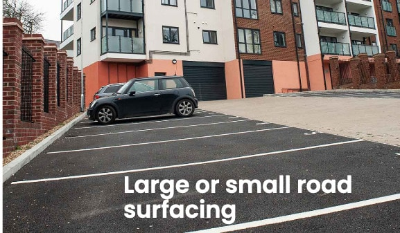 Newly laid car park with tarmac and block paving