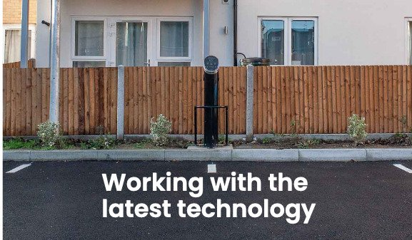 Electric Car charging point installed alongside new fence
