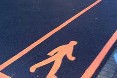 bright orange street lining for forecourt