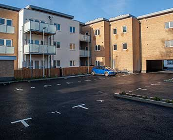 Housing association development with car parking and electric car charging points