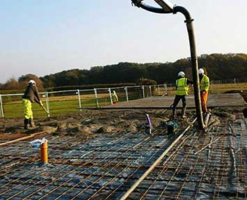 Pouring concrete with reinforced concrete