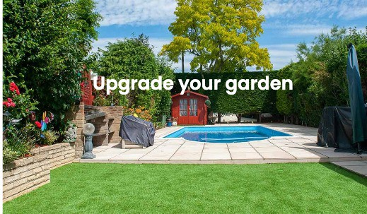 Small garden with swimming pool and artificial grass