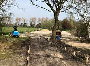 school ground works preparing for a new car park
