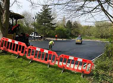 school ground works laying Tarmac school car park