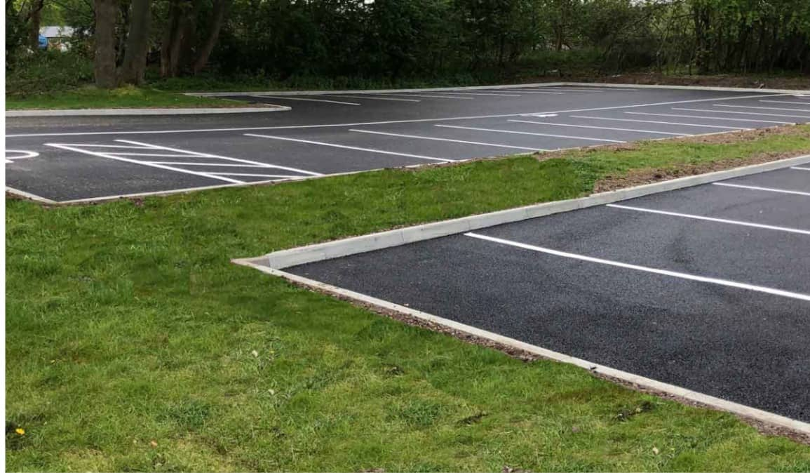 Finished new laid car park with white lining